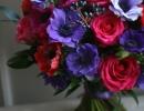 Rose, anemone and viburnum berry bouquet