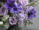 Anemone, roses and lilac bouquet