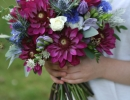 Dahlia wedding bouquet in burgandy, blue, lilac and white