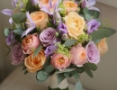 Peach and lilac wedding bouquet