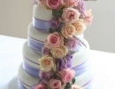 Wedding cake with cascade of flowers