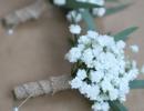 Gents buttonhole of gypsophila and eucalyptus