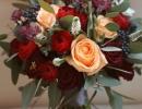 Burgundy and peach wedding bouquet