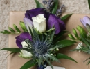Gents buttonhole in cadbury purple, blue and white