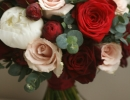 red, pink and white wedding bouquet