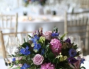 Blue, lilac and pink table arrangments