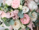 Blush bouquet with garden roses and peonies