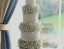 Wedding cake with tiers of Gypsophila