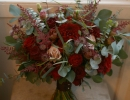 Burgundy/red bouquet with touches of pale pink