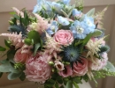 Pinks and blues wedding bouquet