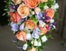 Peach and purple teardrop wedding bouquet