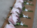 Pink rose and heather buttonholes