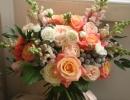 Peach and pink wedding bouquet Edinburgh