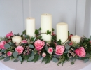 Top table arrangement with candles