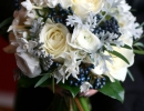 white and midnight blue wedding bouquet