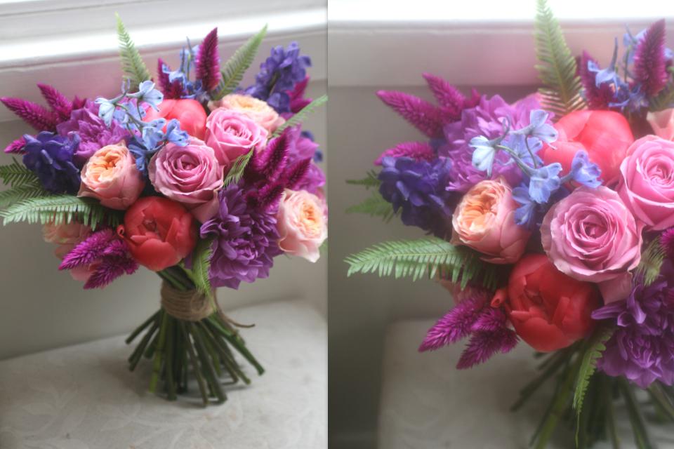Vibrant colourful wedding bouquet Edinburgh
