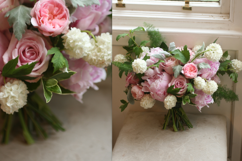 Unstructured wedding bouquet with peonies Edinburgh