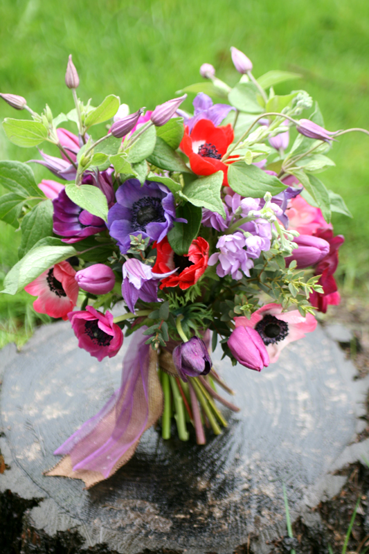 Natural wedding bouquet with anemone