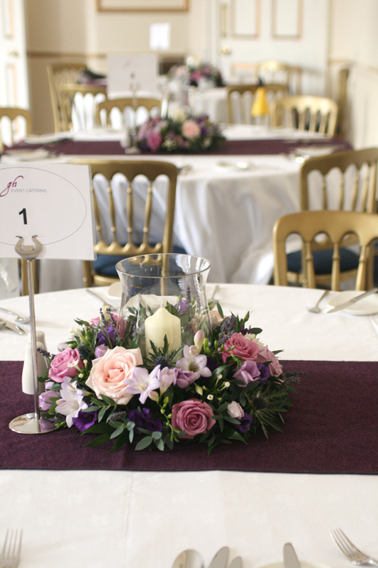 Table centerpieces at Melville Castle