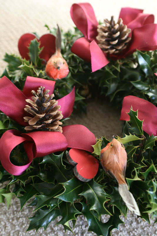 "10"" Holly wreath for a graveside - £20"