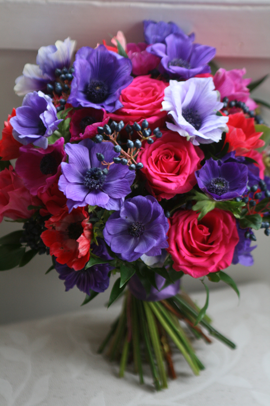 Wedding bouquet of anemone and roses
