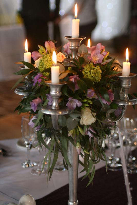 Candelabra  centrepiece with flowers