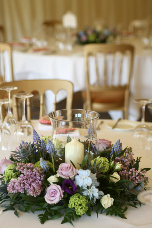 Hurricane vase table arrangements Edinburgh