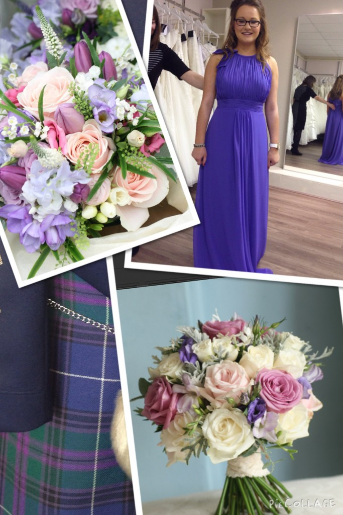 Claire's photo collage with pictures of past wedding bouquets and the bridesmaid dress colour.