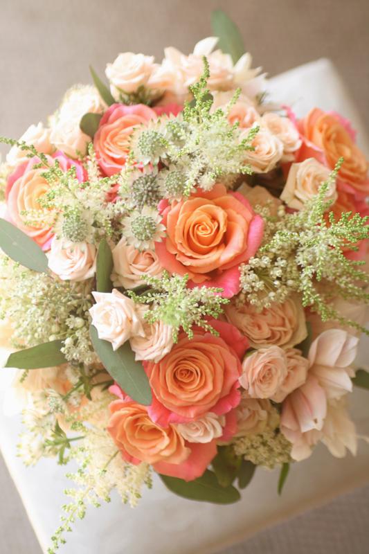 Coral and peach wedding bouquet Edinburgh
