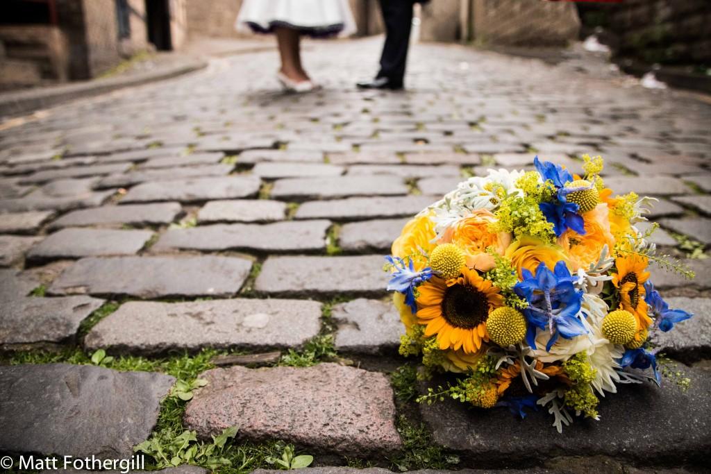 Sunflower bouquets for Edinburgh wedding
