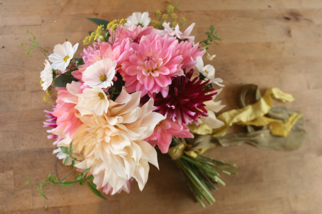 This bouquet includes 3 x varieties of dahlia. cosmos, dil and jasmine all grown from our garden.