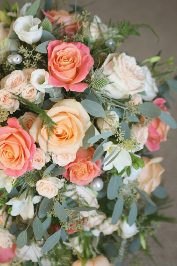 Peach and pink wedding flowers Midlothian