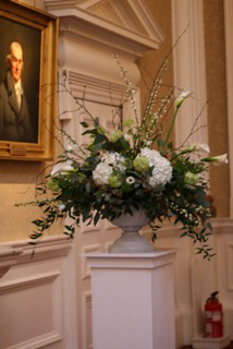 Flower displays at Merchants Hall in Edinburgh