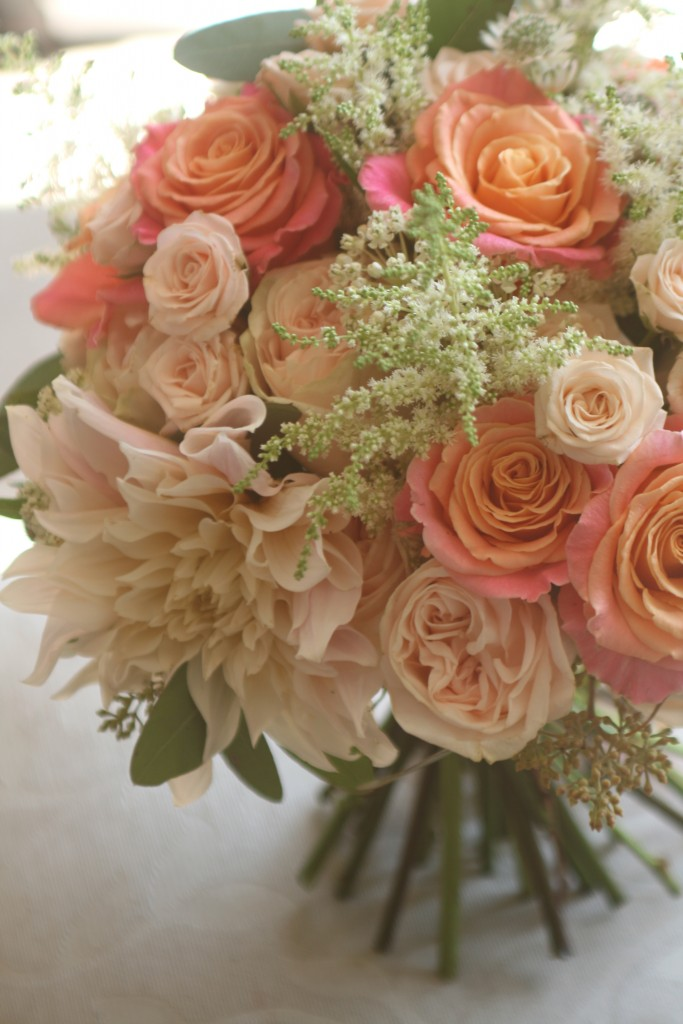 Peach wedding bouquet Edinburgh