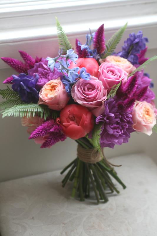 Colourful vibrant wedding bouquet Edinburgh