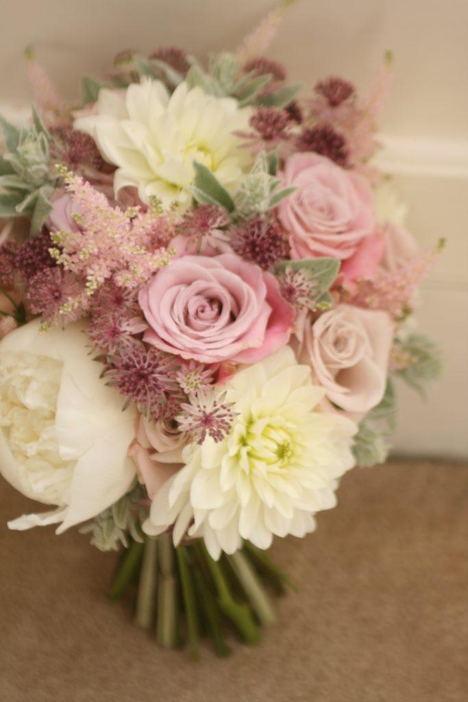 Vintage pink wedding bouquet Edinburgh