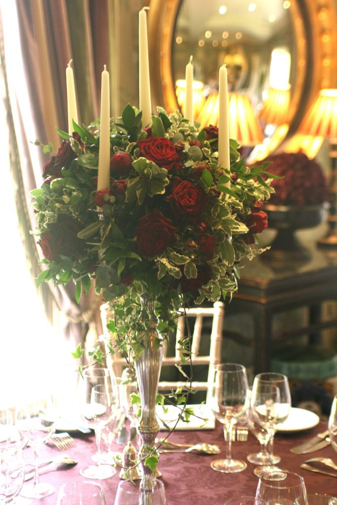 Candelabra table centerpieces at Prestonfield House