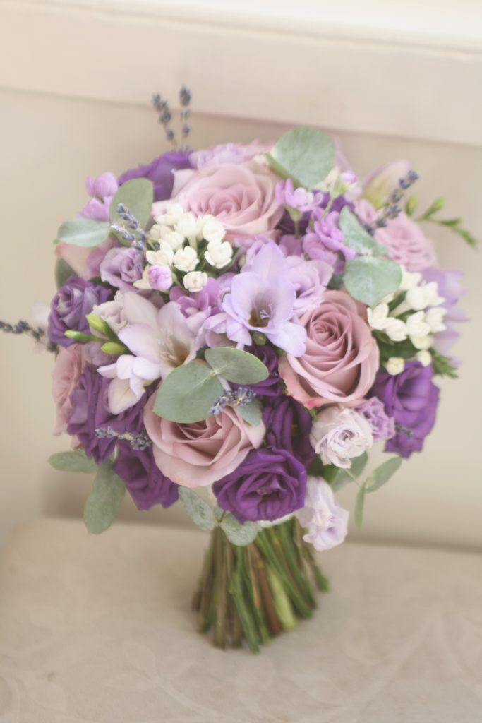 Purple and lilac wedding bouquet