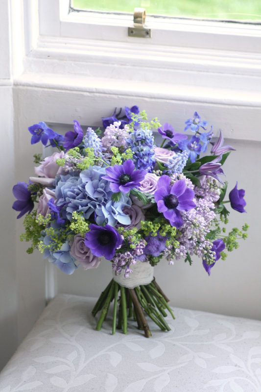 Blue and purple wedding bouquet Edinburgh